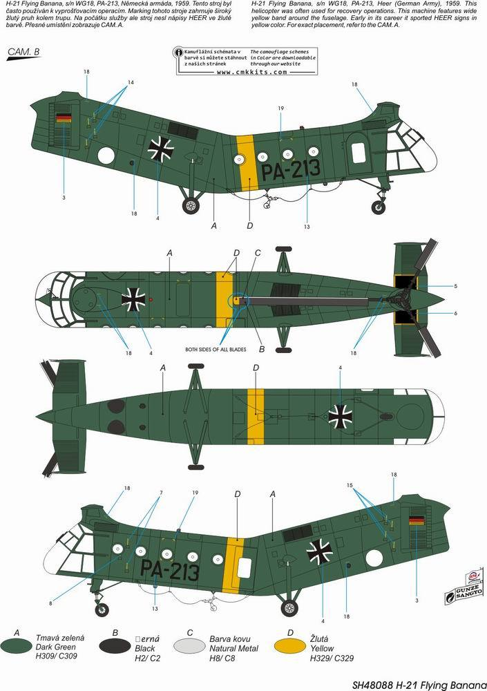 Special Hobby 100-SH48088-1:48 H-21 Workhorse /'German /& French Marking/'