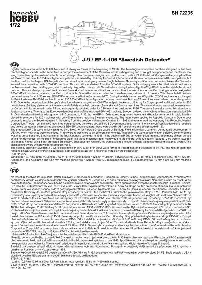 "Special Hobby 100-SH72235-1:72 J-9 EP-106 /""Swedish Defender/"""